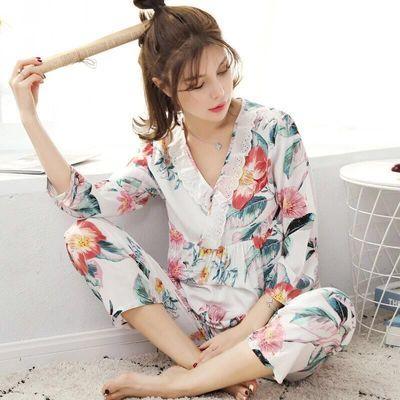 春秋女夏绵绸睡衣女士长袖薄款棉绸套装韩版宽松家居服大码家居服