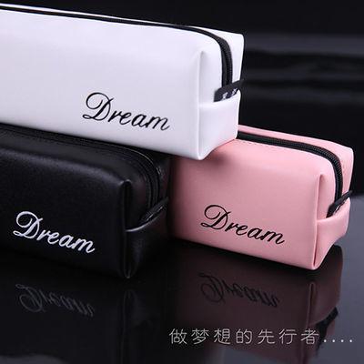 韩国简约小清新帆布方形粉色初中生考试笔袋女大容量文具袋文具
