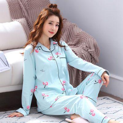 樱桃蓝色 开衫睡衣女长袖秋冬学生潮妈上衣开衫睡衣套装女