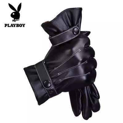 花花公子手套男女秋冬季加绒加厚保暖触屏防水防风骑车户外皮手套