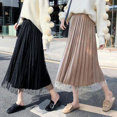 正反两面穿加厚金丝绒百褶裙中长款网纱半身裙秋冬韩版学生仙女裙