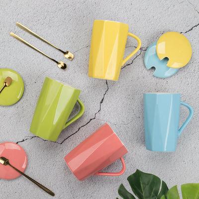简约杯子陶瓷马克杯带盖勺日式少女心学生情侣咖啡杯家用喝水杯
