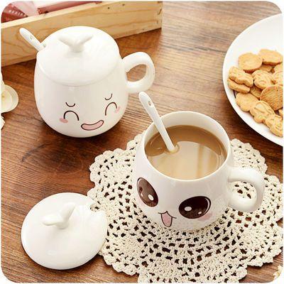 KB早餐牛奶杯子陶瓷带盖勺办公室家用咖啡杯马克杯情侣一款男女