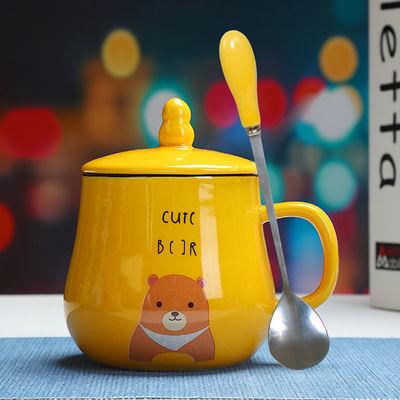 哆啦a梦马克杯卡通可爱水杯子陶瓷带盖勺吸管情侣一咖啡蓝胖子