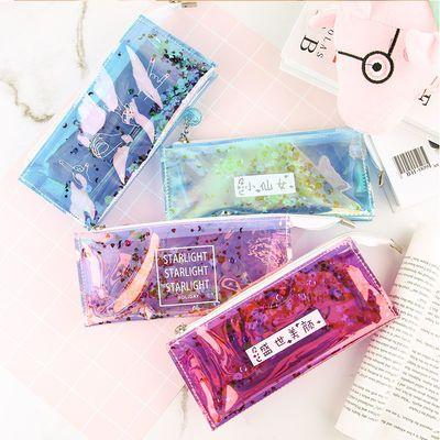 包邮笔袋韩国简约女生小清新可爱磨砂半透明考试大容量文具收纳
