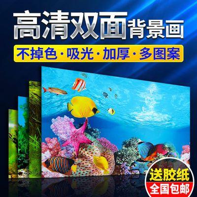 鱼缸背景贴纸装饰品壁画海底图案花草金鱼缸水族背景墙海洋水景