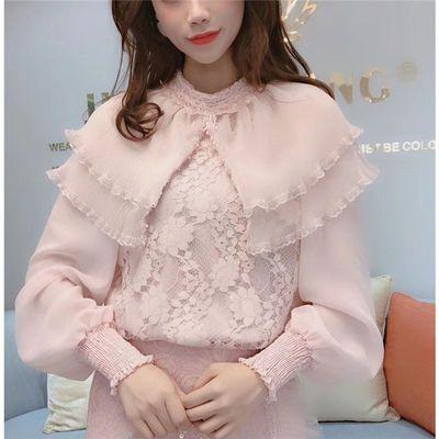 气质蕾丝衫女2019春秋新款韩版洋气娃娃领甜美超仙chic蕾丝上衣