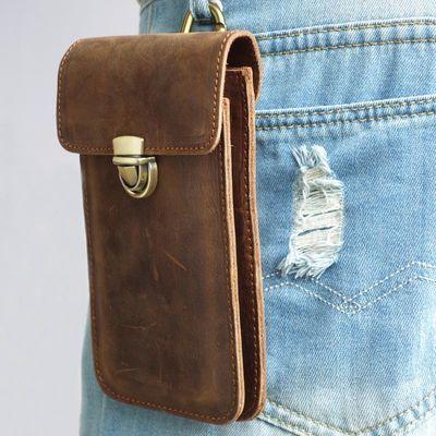 男士挂腰真皮双层手机包头层牛皮5.5/6/6.5寸穿皮带超薄手机袋