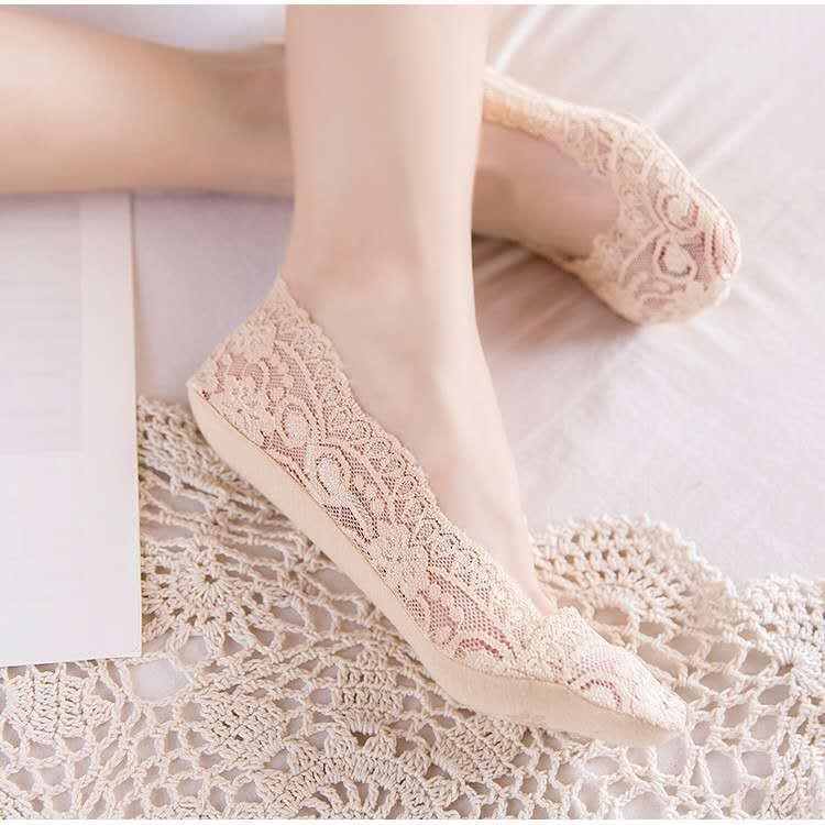 【超值3-5双装】袜子女浅口船袜女隐形袜夏季薄款防滑蕾丝脚底袜
