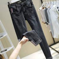 高腰牛仔裤女小脚大码女装200斤黑色裤子女新款弹力九分显瘦紧身