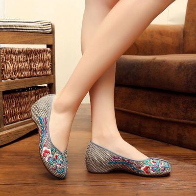 老北京布鞋女夏民族风绣花鞋古风亚麻内增高坡跟休闲低帮妈妈单鞋