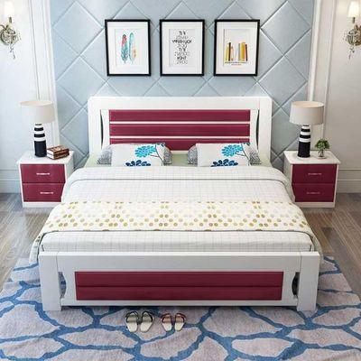 床包邮 送床垫 送床头柜 床架 双人实木床1.0m1.5米1.8米