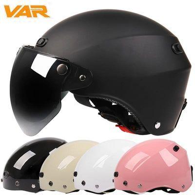VAR白色卡其电动摩托车哈雷头盔男卡通可爱电瓶车女士安全帽