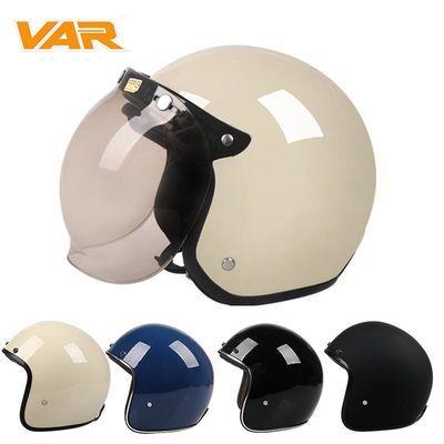 VAR卡其色头盔男电动摩托冬季安全帽女式防晒保暖四季轻便