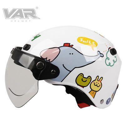 VAR台湾P714动物乐园电动摩托车头盔女四季通用卡通可爱安全帽男