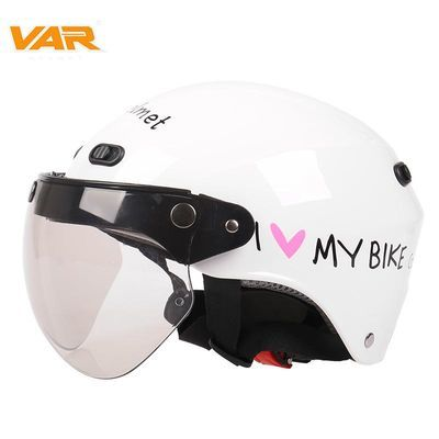VAR电动摩托车复古机车头盔男电瓶车四季通用轻便式女式安全帽
