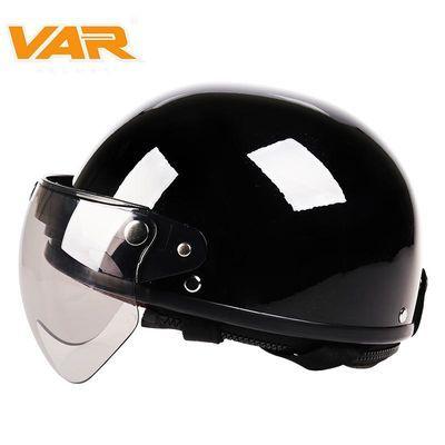 VAR卡其电动摩托车头盔头盔男哈雷复古四季通用电瓶车女士安全帽