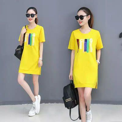 纯棉口袋圆领短袖T恤女中长款2020年新款女学生韩版大码印花T恤裙