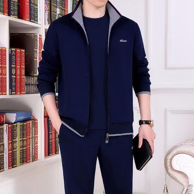运动套装男士春秋季外套中老年男装三件套爸爸装休闲运动服男套装