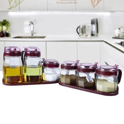 厨房用品玻璃调味罐油壶套装 加厚玻璃制品 盐罐糖罐调料盒套装