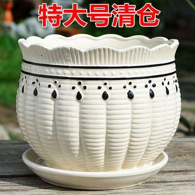 懒人自动吸水花盆清仓塑料树脂白色简约仿陶瓷绿萝箩多肉家用