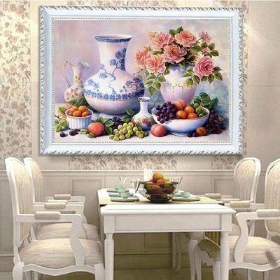 新款5D欧式钻石画水果花瓶圆砖餐厅油画点贴钻十字绣客厅花卉满钻