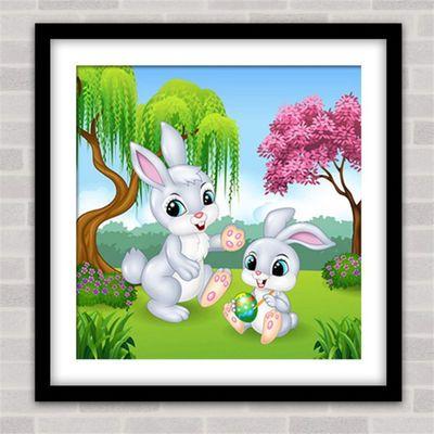 新款圆钻卡通贴钻十字绣满钻儿童小兔子钻石画卧室可爱小幅点砖秀