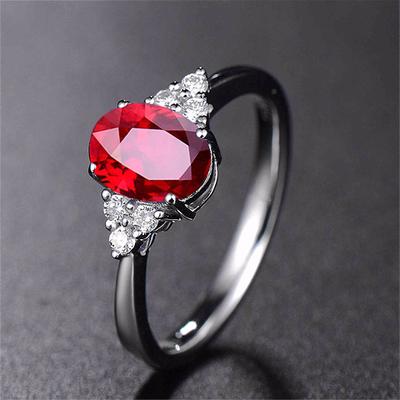 姐姐同款戒指 石榴石戒指 红宝石戒指女 乘风破浪纯银手饰戒指盒