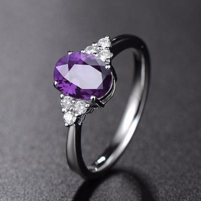 姐姐同款戒指 紫色宝石戒指 乘风破浪戒指女 纯银可爱手饰戒指盒