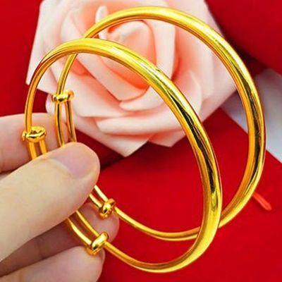送戒指礼盒 镀越南沙金手镯女 镀金手镯 黄金色首饰品女 久不褪色