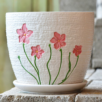 懒人花盆自动吸水绿萝盆水土培两用懒人盆仿瓷款圆形多肉塑料花