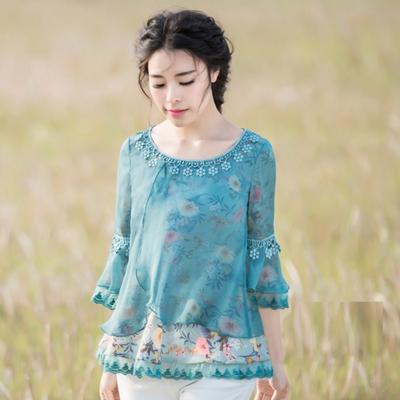 2020秋季新款女装清新雅致宽松版印花雪纺衫同款民族风上衣