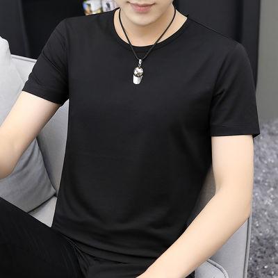 视客 莫代尔夏季t恤男士短袖潮流黑色圆领纯色上衣服半袖男装修身