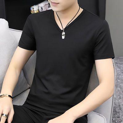 视客 莫代尔短袖t恤男士潮流上衣服夏季男装黑色V领纯色半袖修身
