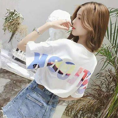 含棉新款2020夏季T恤女学生ins潮宽松韩版百搭时尚上衣女打底衫