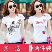 【买一送一】短袖T恤女装2019新款打底衫宽松春夏季韩版半袖上衣