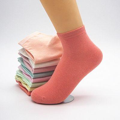 袜子女韩版中筒秋冬纯棉女袜子短袜百搭防臭原宿风纯色学生常规袜