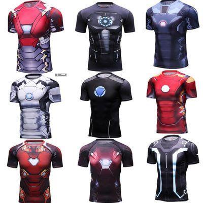 3D钢铁侠男士超级英雄紧身衣健身衣运动衫速干衣短袖t恤篮球背心