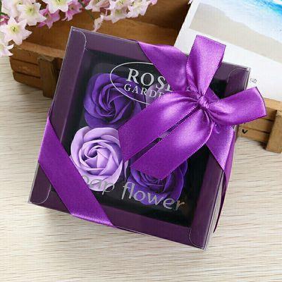 七夕情人节礼物4朵玫瑰香皂花礼盒 活动促销赠品礼物礼品定制
