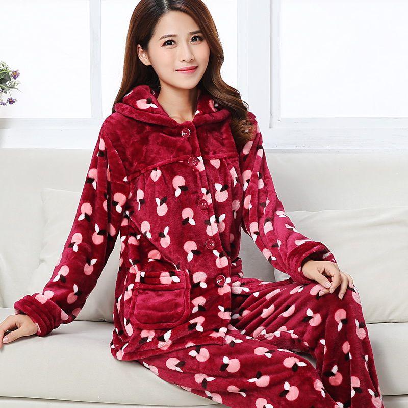 便宜的加厚秋冬季法兰绒睡衣女套装珊瑚绒青年中老年妈妈睡衣长袖家居服