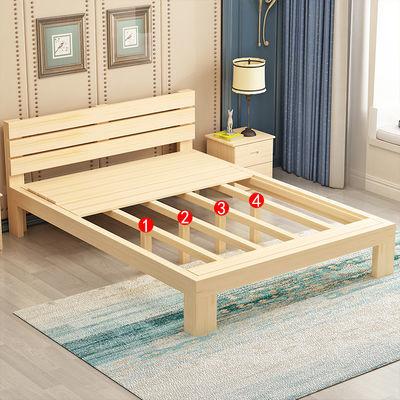 特价简约现代实木床1.5米双人床1.8米单人床1米宽经济床简易床