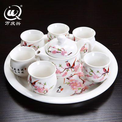 萬慶興功夫茶具套裝隔熱防燙大號茶杯壺青花瓷干泡盤送禮居家必備
