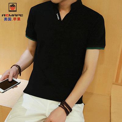 美国苹果新款男士上衣POLO衫立领男短袖T恤衫打底衫纯黑男夏短袖