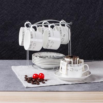 欧式陶瓷杯咖啡杯套装 简约咖啡杯6件套创意家用咖啡杯碟勺