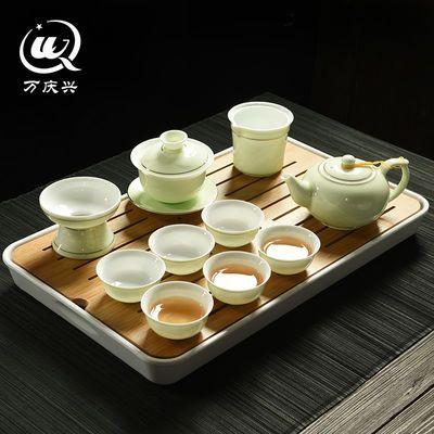 青瓷茶具套装陶瓷功夫茶具影雕透光瓷茶具套装茶盘整套茶壶茶杯