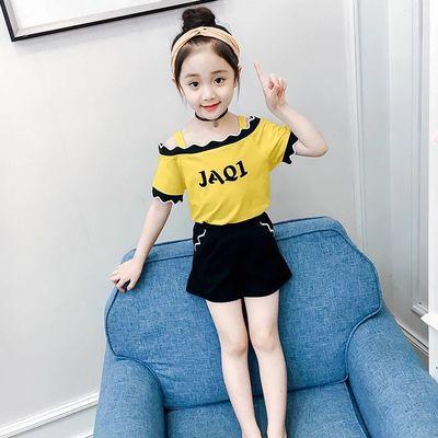 童装夏装女童一字肩套装2020新款韩版吊带T恤短裤夏季两件套