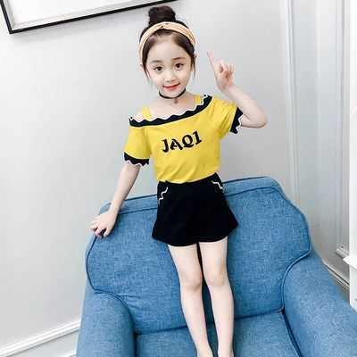 童装夏装女童一字肩套装2019新款韩版吊带T恤短裤夏季两件套