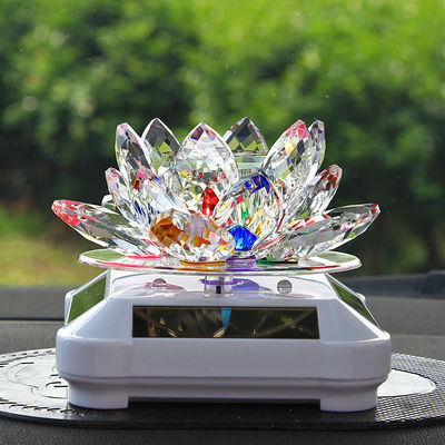 车内创意太阳能水晶旋转莲花汽车用品座式车载香水装饰品摆件香薰