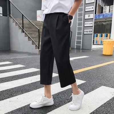 春秋夏季阔腿裤男女九分裤休闲裤男士薄款直筒裤子学生韩版潮流