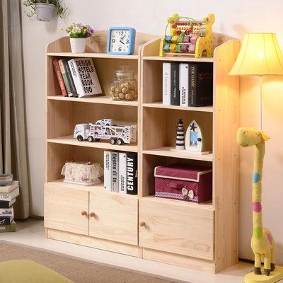 松木儿童书架简易书柜实木儿童书柜书架卡通幼儿园组合储物柜带门